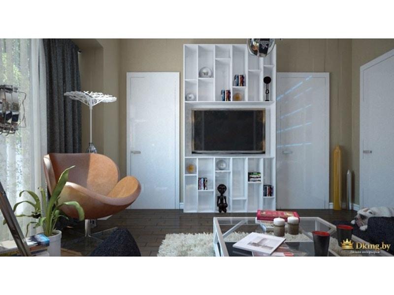 гостиная в стиле фьюжн: стильное круглое кресло, белый стеллаж для сувениров