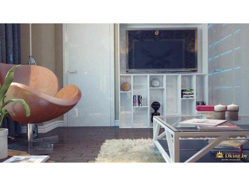 гостиная со стеклянным столиком, белой мебелью и круглым креслом