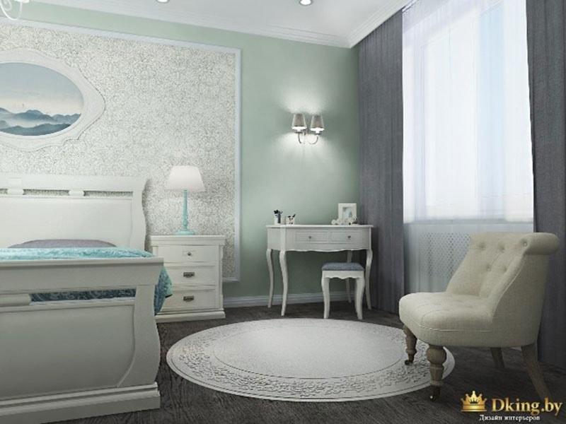 классический туалетный столик белого цвета, пуф с резными ножками, обои в молдингах, кожаное кресло