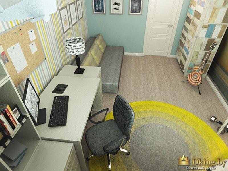 детская с удобным компьютерным столом, голубыми и желтыми акцентами