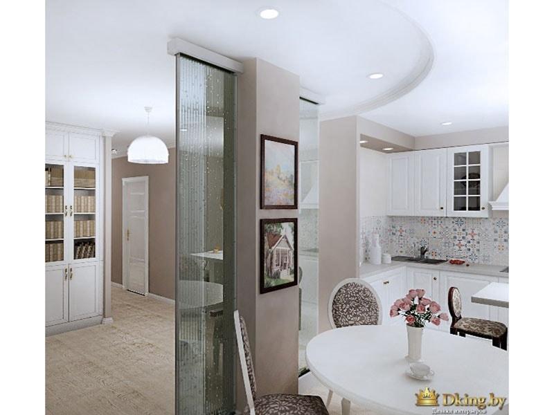 гостиная-столовая: прозрачная перегородка, картины в черных рамках на стене цвета какао, белый круглый стол