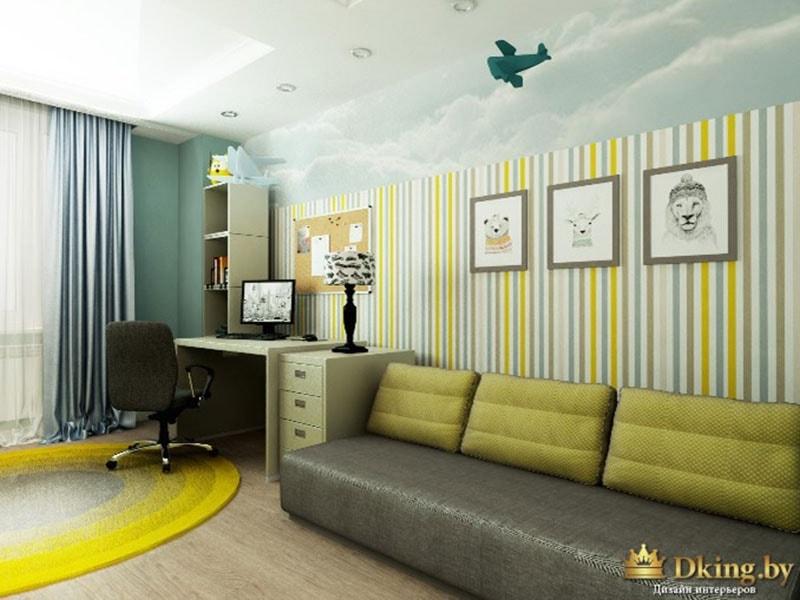 полосатые обои в детской, потолочный светильник в виде самолета, акцентный диван с подушками