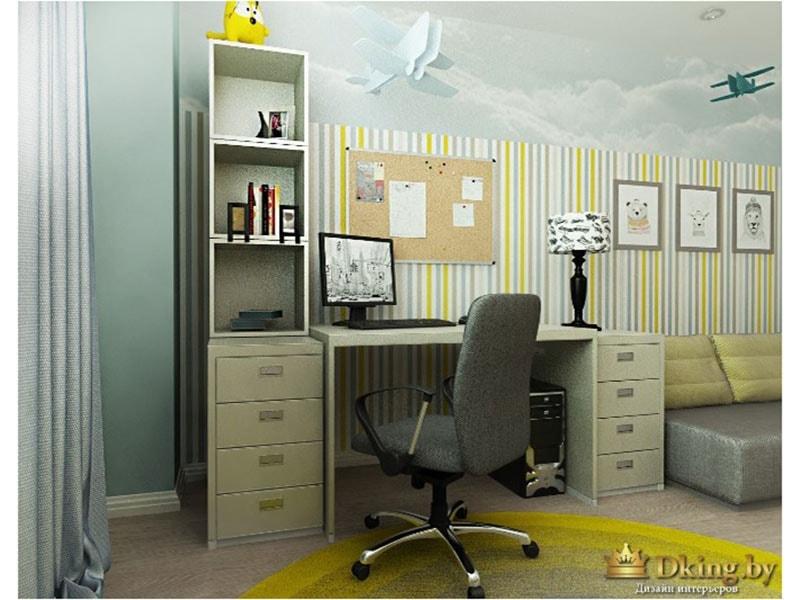 детская с вместительным компьютерным столом. пол светлый, плинтус белый широкий