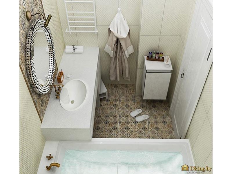 ванная: умывальник, встроенный в столешницу, белый полотенцесушитель, встроенный смеситель