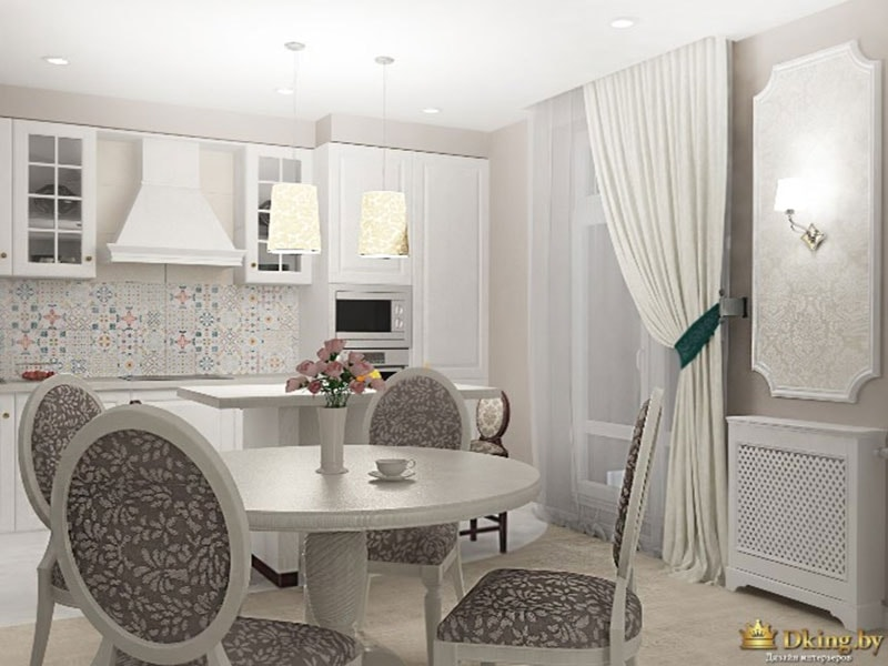 классическая кухня, штора до пола с подхватом, обои в молдинге, круглый стол, фартук в стиле пэчворк