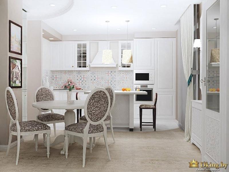 белая кухня классика, круглый стол, четыре стула с круглыми спинками, контрастная встроенная техника