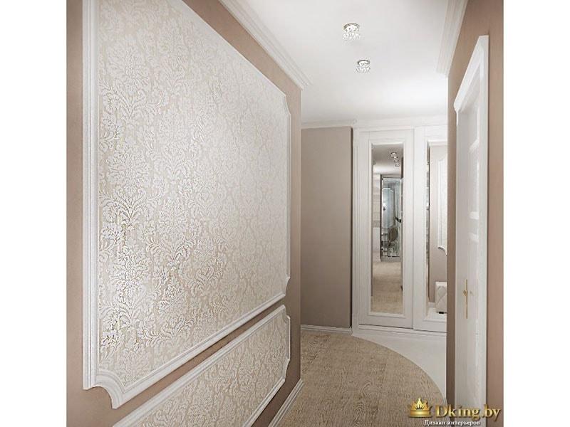 молдинги на стенах, комбинирование обоев и крашеных стен