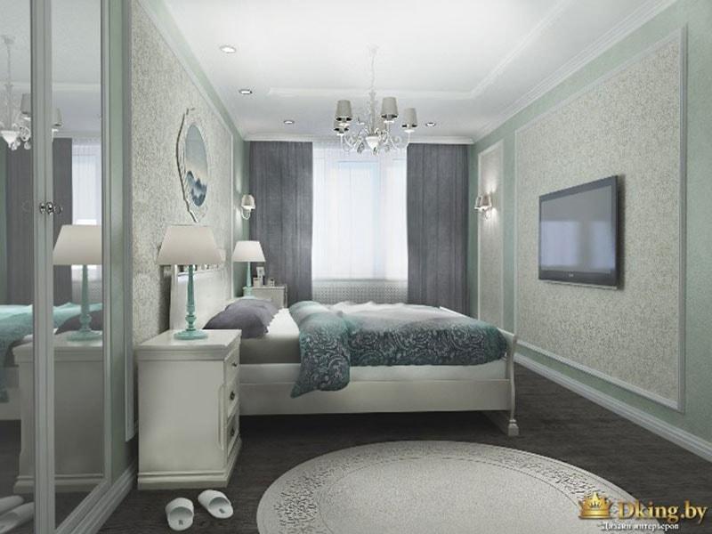 спальня в серых тонах, темный пол, светлые стены, зеркальный шкаф, круглый ковер, обои в молдингах