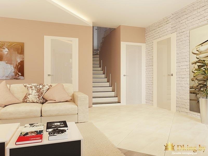 белые современные двери в частном доме, лестница на второй этаж, стены крашеные и декорированные искусственым кирпичом