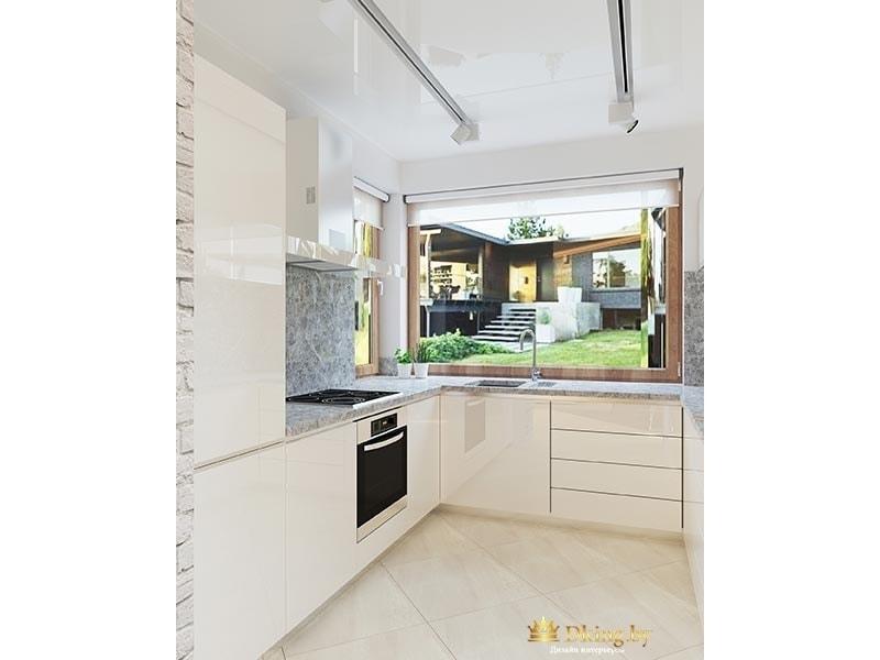 белая глянцевая кухня без ручек, черная встроенная техника
