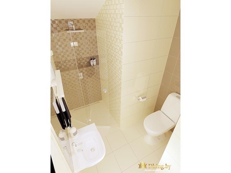 санузел: светлая плитка на полу и на стенах, напольный унитаз в нише