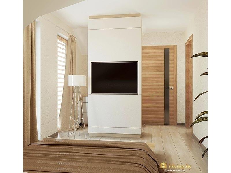 спальня на втором этаже. Колонна с телевизором