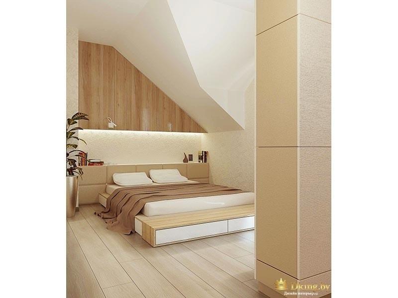 спальня на втором этаже: оригинальный способ обыгарть нишу