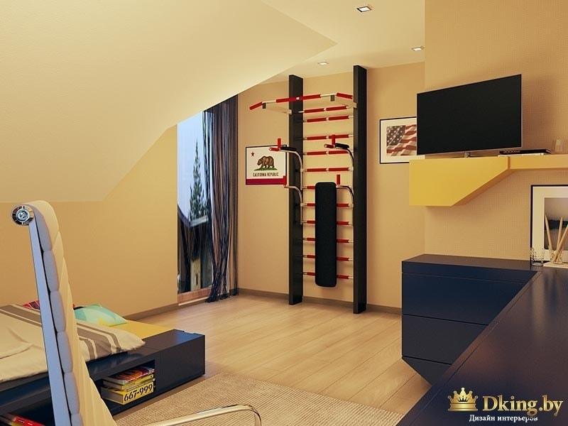 детская со шеведской стенкой. Стены бежевые, мебель выполнена на заказ желтого и синего цветов. Мебель геометрической неправильной формы