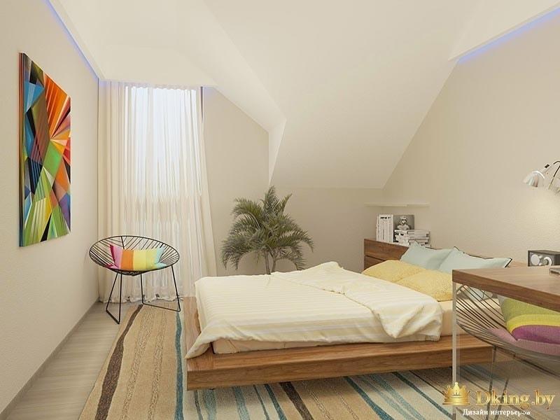 спальня: кровать на подиуме подвесная, на стене акцентная цветная абстракция. стены белые