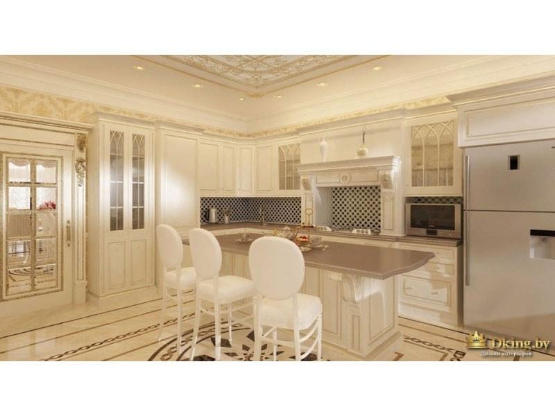 остров на кухне, белые барные стулья, шкаф-витрина, широкий холодильник стального цвета