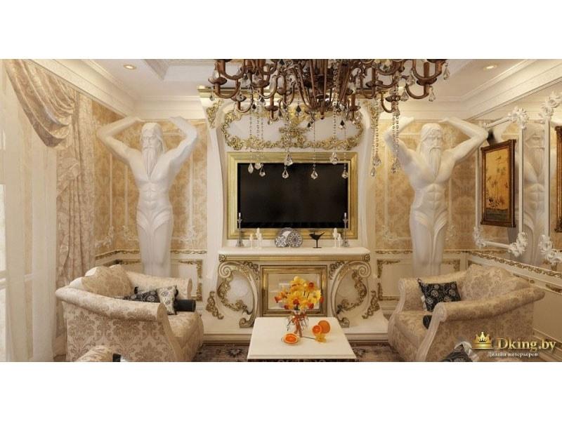 колонны-атланты в гостиной возле телевизора, классические бежевые кресла в стиле ампир, позолота и шикарная люстра