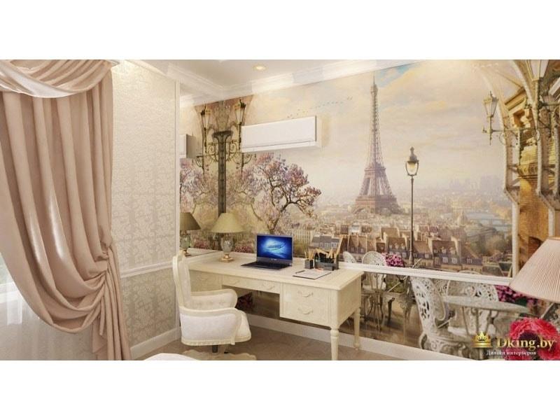 фотобои с видом Парижа, рабочий стол и ампирное рабочее кресло