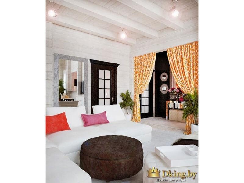 белый пол, белые стены, белый деревянный потолок с балками в сочетании с дверями цвета венге, белой и шоколадной мебелью и яркими акцентами: шторы в деревенском стиле, яркие подушки