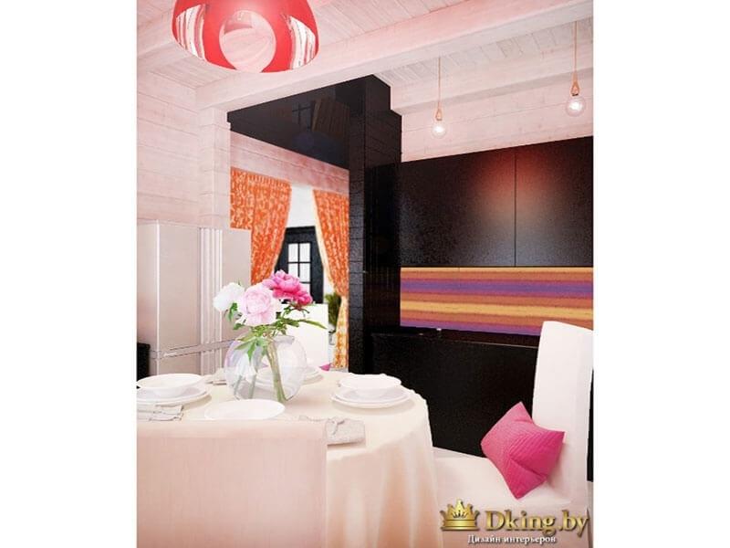 белый круглый стол, накрытый скатертью, в сочетании с контрастных кухонным гарнитуром цвета венге