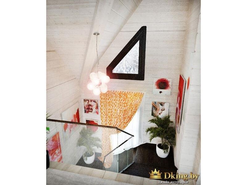 оконная рама цвета венге на фоне белых стен. оранжевые акценты в деревянном доме с белыми стенами
