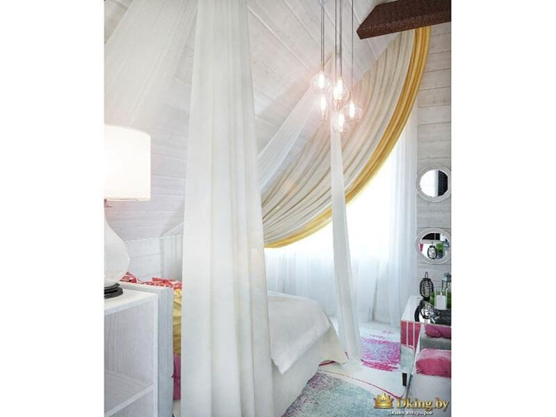 легкий текстиль в белой спальне: цвет белый, акценты желтые и цвет фуксия