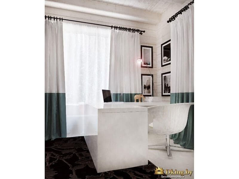 белый рабочий стол. кресло пластиковое крутящееся на одной ноже, шторы на стальных карнизах двухцветные: нз бирюзовый, верх белый. ковер темного шоколадного цвета