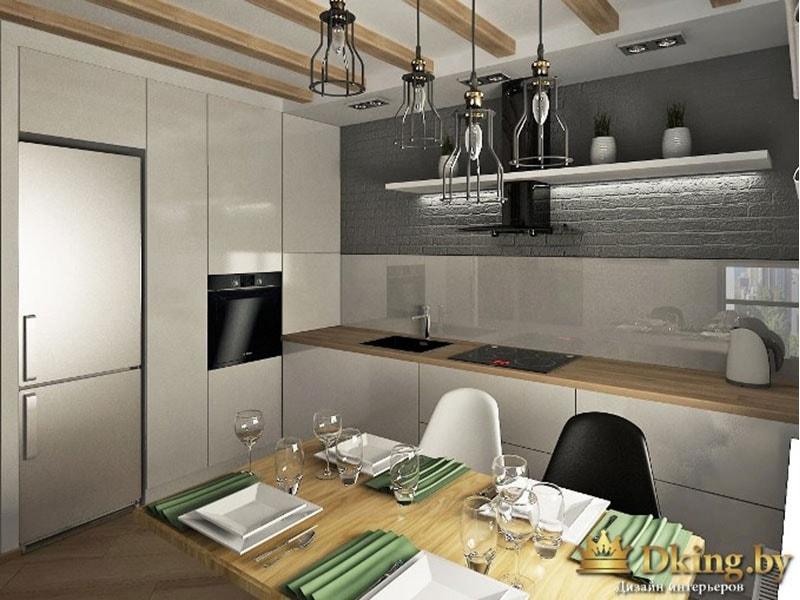 кухня в стиле лофт: на потолке деревянные балки, кухня без верхних шкафчиков. нижние шкафы белые без ручек, столешница под дерево, фартук белая глянцевая плитка, выше - серый декоративный кирпич. Боковая стена - белые закрыте шкафы, встроенная техника