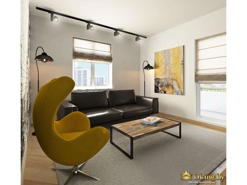 желтое дизайнерское кресло. лофтовый журнальный столик - деревянная столешница, железные ножки. диван черный кожаный двухместный. черные торшеры в форме уличных фонарей. на стене картина - желтая абстракция.пол под дерево, ковер серый, стены белые