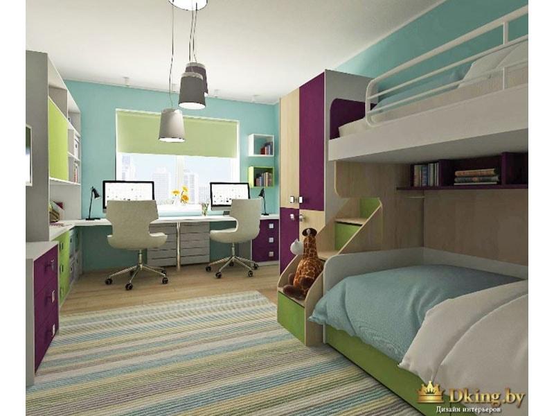 детская для двух детей: двухъярусная кровать, вместо подоконника - рабочий стол во всю длину окна, два стула. много шкафов и мест для хранения. сочетание салатового, голубого и насыщенного фиолетового цвета. В качестве фона - белый цвет и деревянная факту