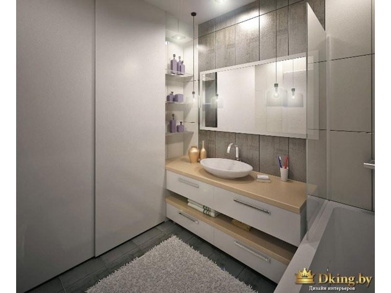 ванная: сочетание белого, теплого бежевого и серого цветов. большой раздвижной белый глухой шкаф для хранения вещей. умывальник накладной на столешницу, овальной формы.