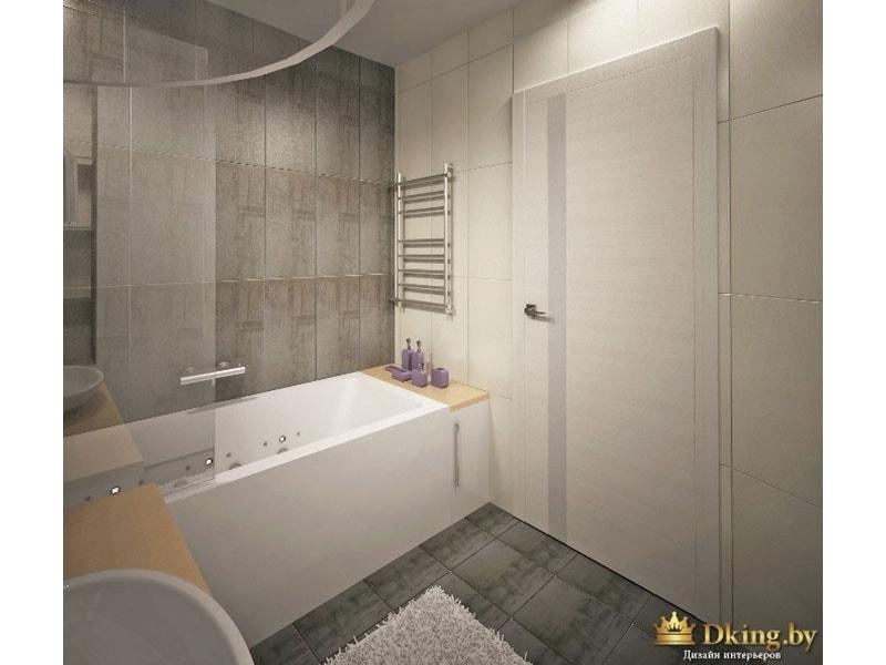 пол в ванной и три стены выложены серой плиткой. стена возле двери - белая. ванна белая, вместо шторки - стекляная панель.