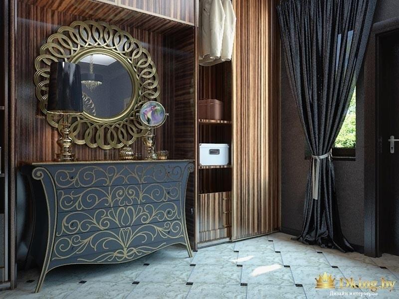 ар-деко: круглое зеркало в бронзовой раме, символизирующей лучи солнца. расписной комод с изогнутыми ножками. на полу белая плитка под мрамор с чеными вставками. темные шторы с подхватом, коричневые шпонированные стены, мебель.