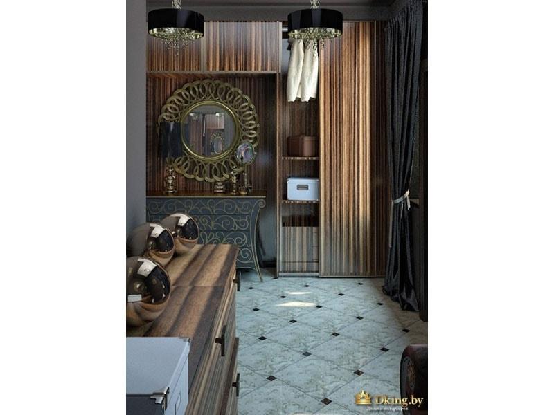 круглое зеркало, светлый пол, коричневая мебель в стиле ар-деко
