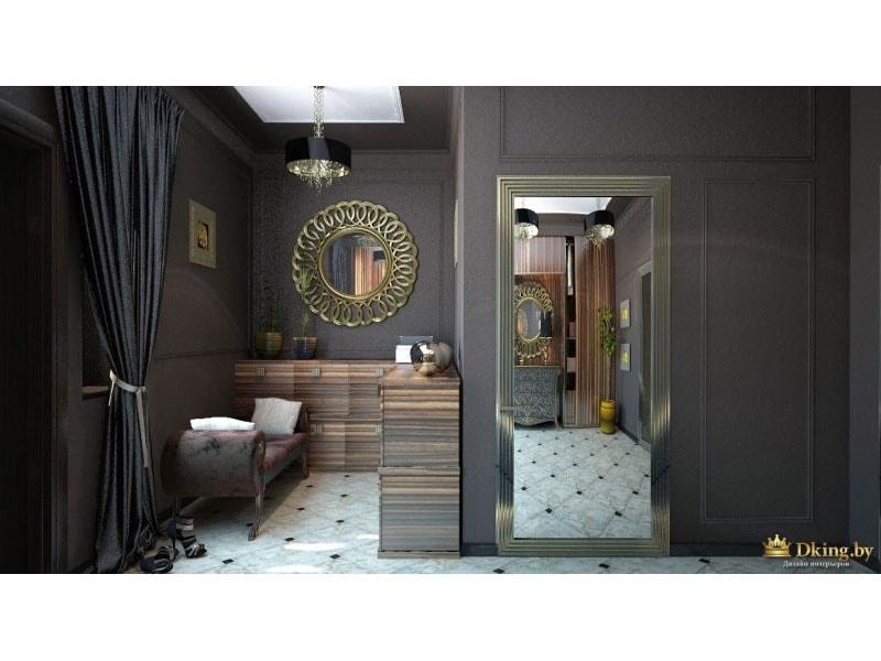ар-деко в интерьере коттеджа: темно-серые стены, круглое зеркало в бронзовой раме, прямоугольное зеркало в широкой раме во весь рост. банкетка с изогнутыми ножками, темный изысканный текстиль