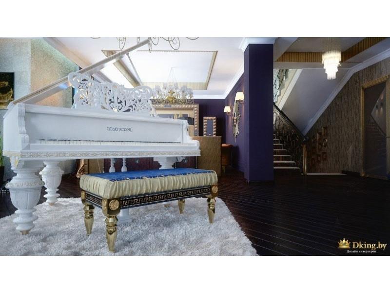 белый рояль - атрибут стиля ар-деко. банкетка с резными ножками, стены темного насыщенного цвета, темный пол и белый мягкий ковер