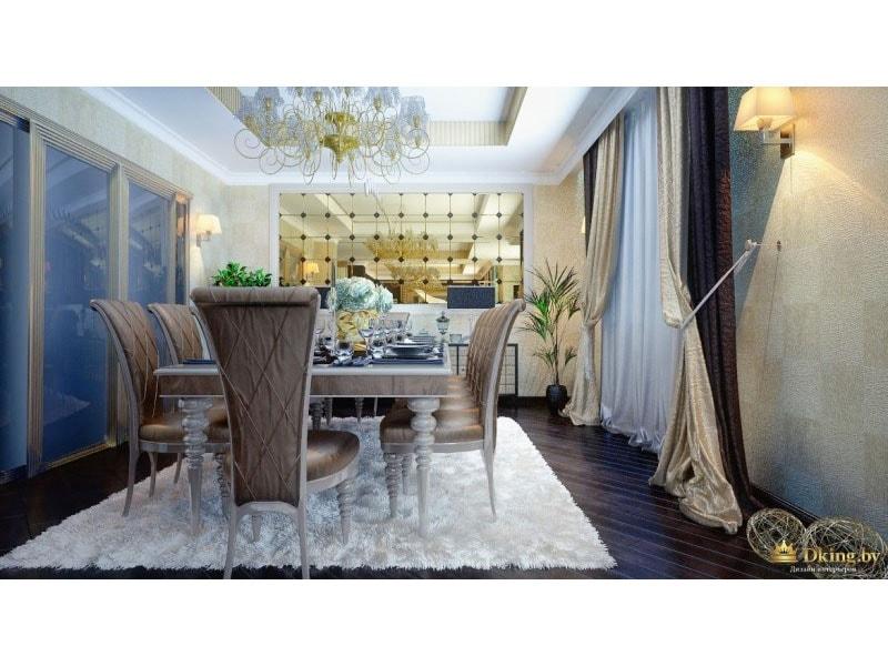 столовая в стиле арт-деко: пол насыщенного шоколадного цвета, белый мягкий ковер, стулья с резными ножками, многослойный текстиль на окнах.