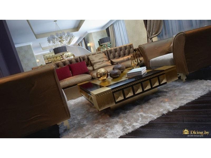 пушистый белый ковер на темном полу. диваны с бронзовой обивкой, много текстиля, золотые и бордовые подушки