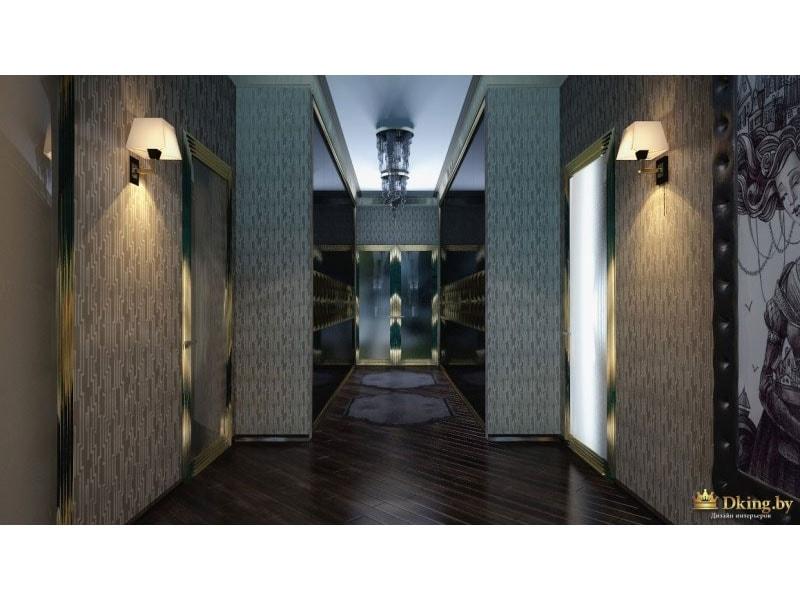 стены украшены светильниками, расположенными симметрично