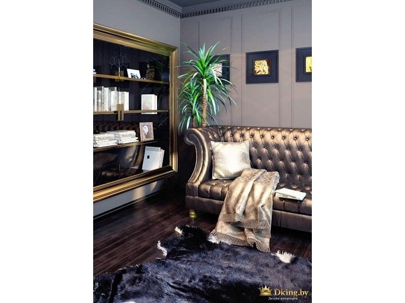 диван с блестящей бронзовой обивкой, на темном полу - ковер-шкура черного цвета и бархатной фактуры