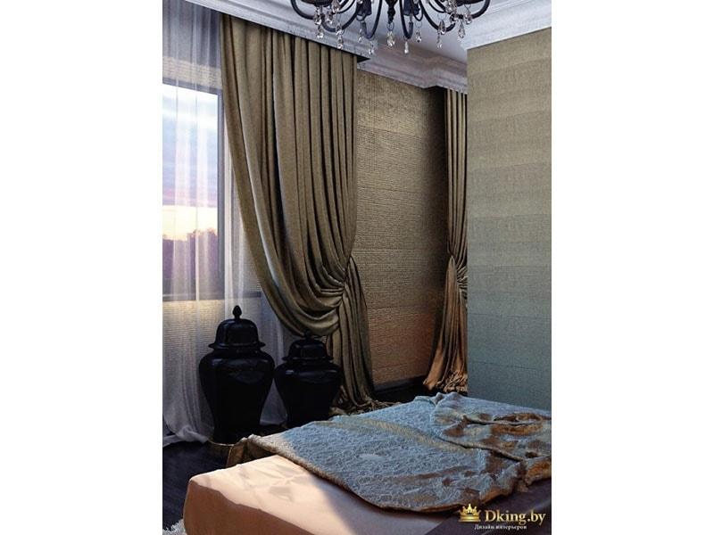 многослойные шторы на окне: органза, тяжелые шторы на подхватах.