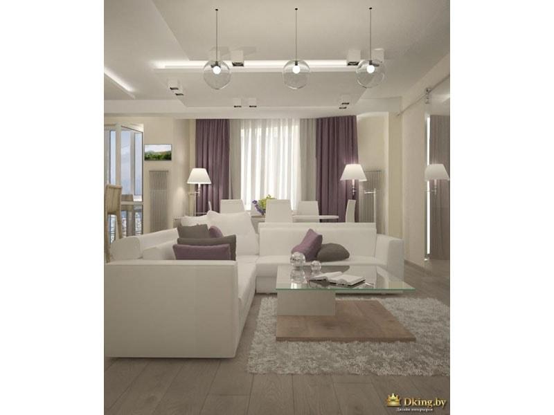 светлый пол под дерево, большой белый угловой диван. стены бежевые. акценты дымчато-фиолетового цвета. стол журнальный стеклянный