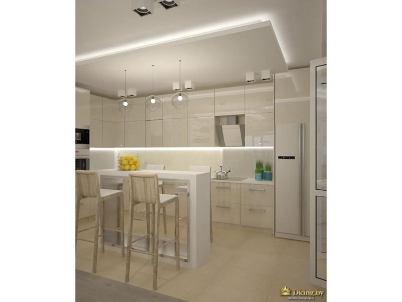 вид из прихожей на кухню: бело-бежевый интерьер. холодильник side-by-side белого цвета