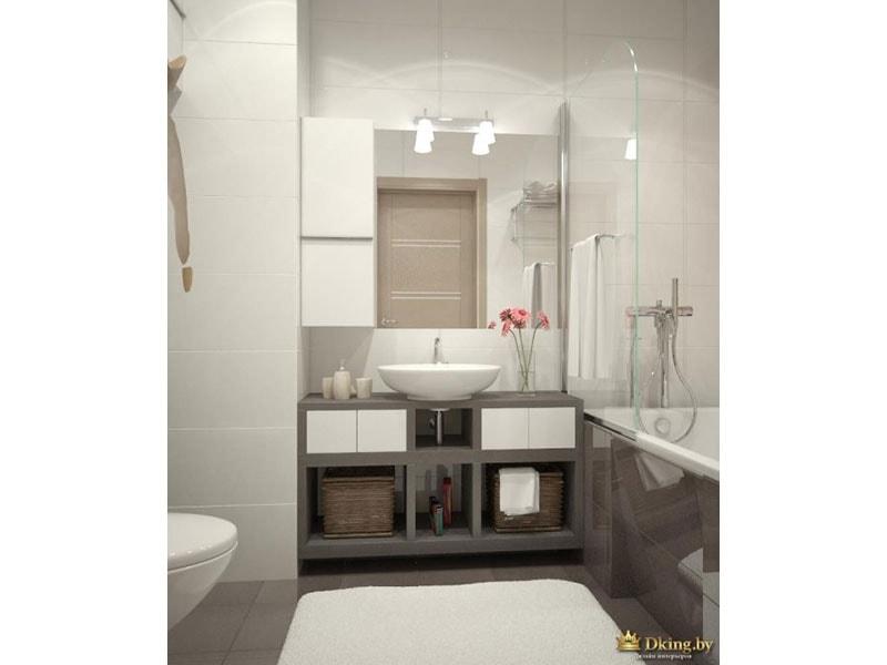 белая ванная с серой плиткой на полу и на экране ванны