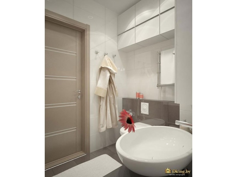 круглый умывальник-чаша в белой ванной