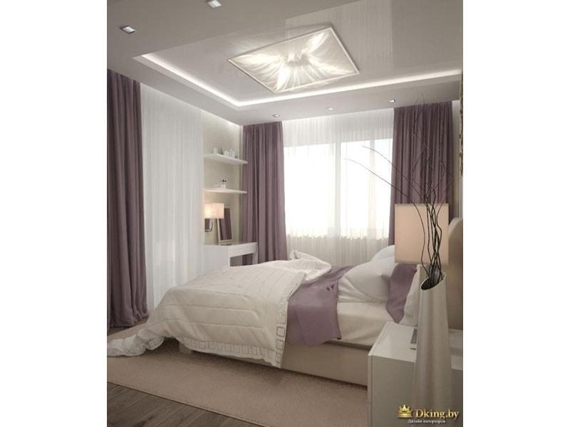 спальня в нейтральных тонах: белый, теплый светло-бежевый. дымчатый сиреневый