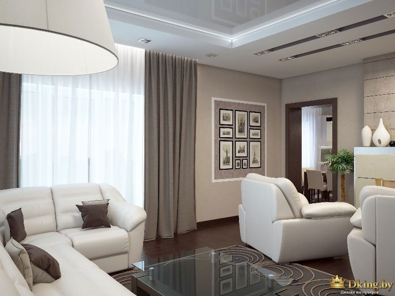 темный пол, бежевые стен, белые кресла и диван