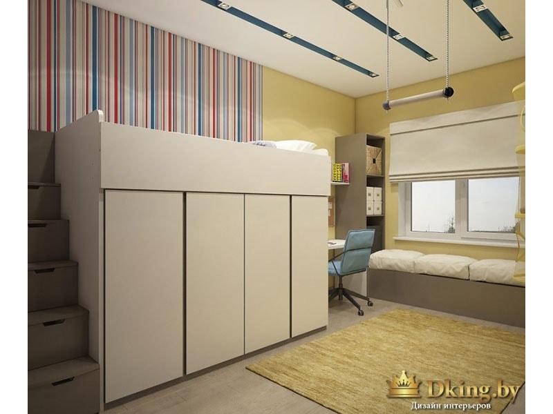 детская: кровать-чердак, под окном место для отдыха с подушками. стены оклеены полосатыми и приглушенно-желтыми обоями. сиреневый цвет акцентный