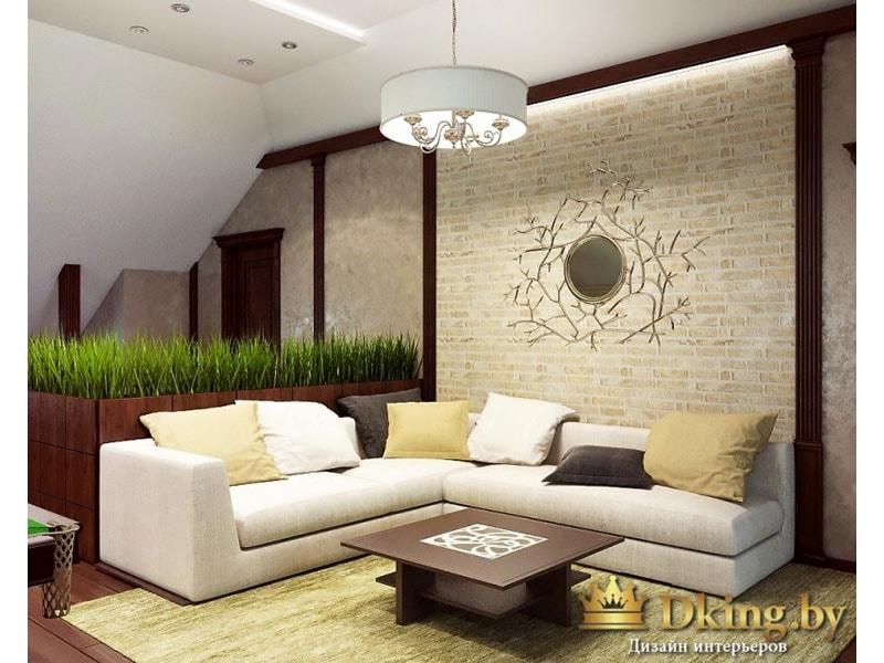 бильярдная: белый угловой диван лконичной формы, цветные подушки, темный деревянный пол, контраст бежевого и цвета темного дерева