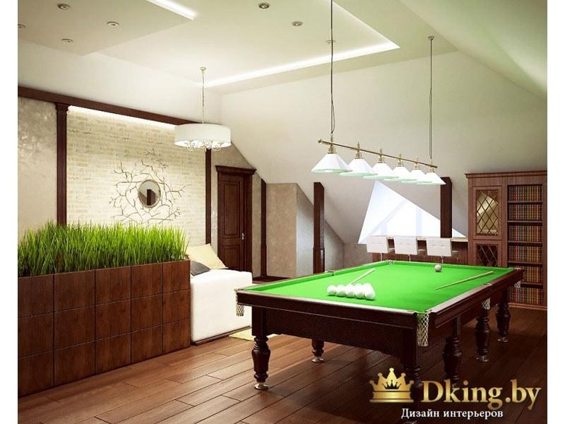 бильярдный стол, белый потолок, темный деревянный пол